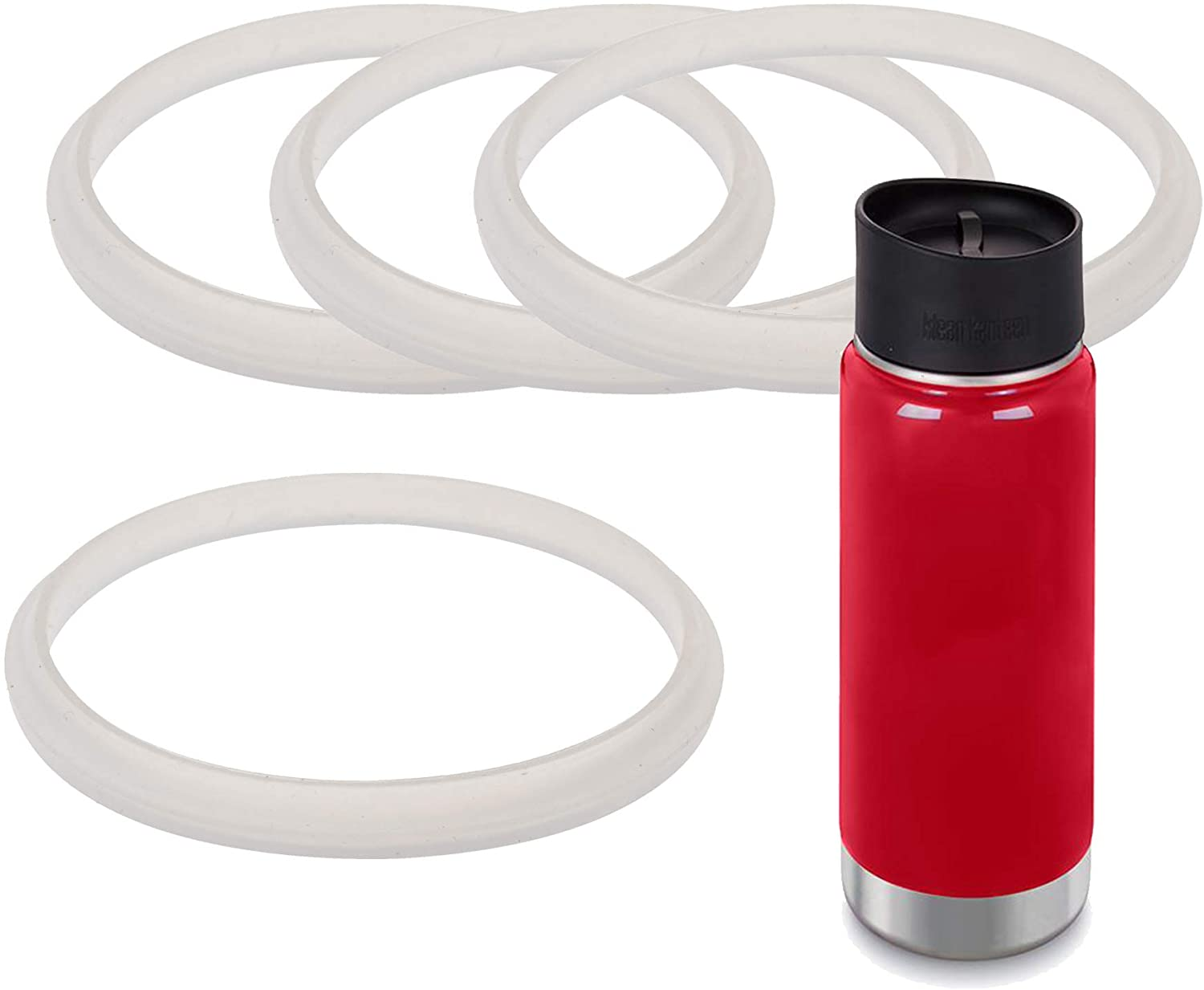 4-Pack of Klean Kanteen (TM)-Compatible Café Cap and Wide Cap Gaskets/O-Rings/Seals by Impresa Products - BPA-/Phthalate-/Latex-Free - Maintenance Kit