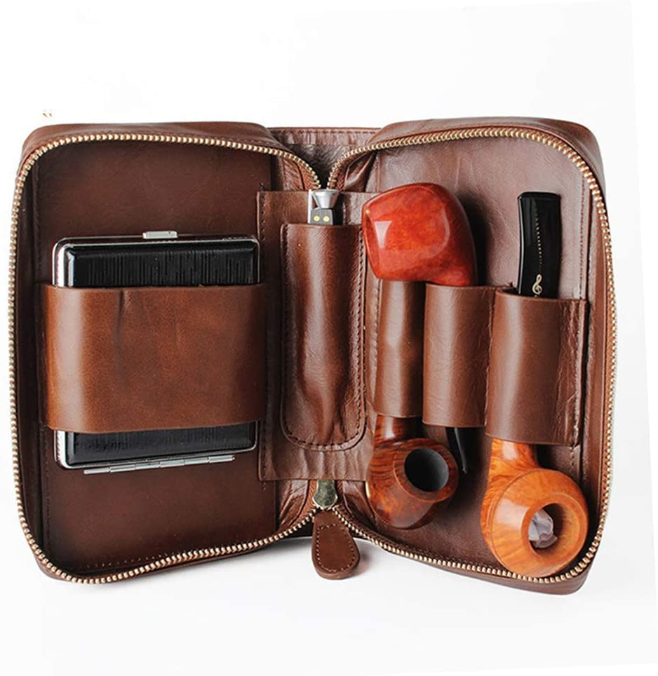 NACHEN Men's Cigarette Cases, Leather Tobacco Smoking Wood Pipe Pouch Case/Bag Pipe Tool Lighter Holder Pocket for 2 Pipe King Size Cigarette case