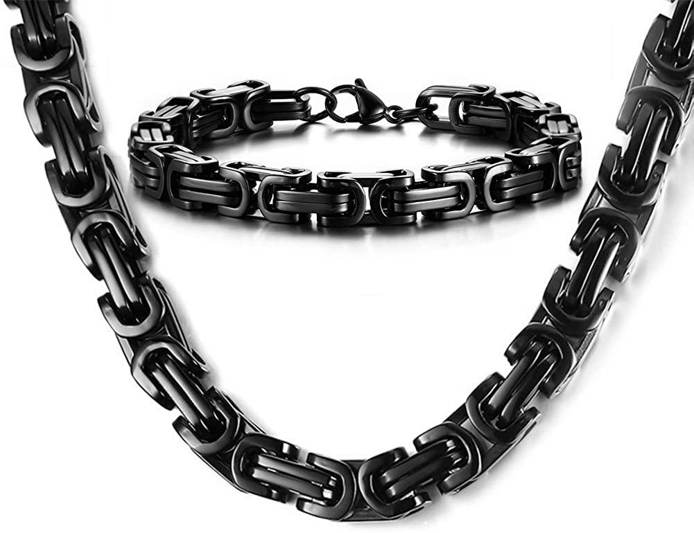 MPRAINBOW Men's Stainless Steel Bike Motorcycle Chain Necklace Bracelet Sets Hip Hop Jewelry,Silver Black