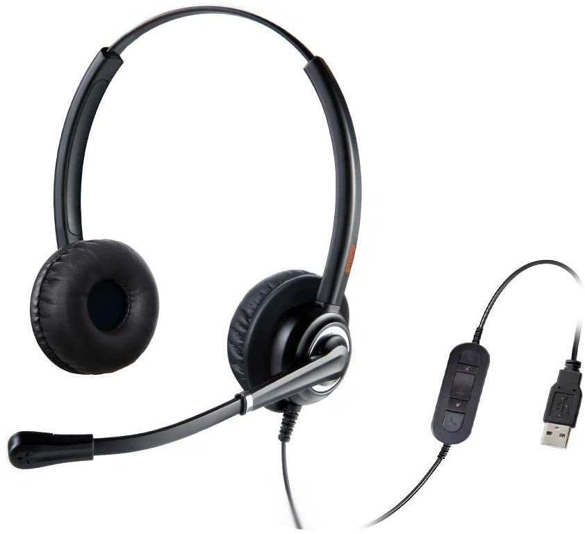 USB Headset with Noise Cancelling Microphone Computer Phone Headset for Dragon Voice Recognition Speech Dictation PC Headphone for Call Center Skype Chat with Mic Mute Volume Control Call Button