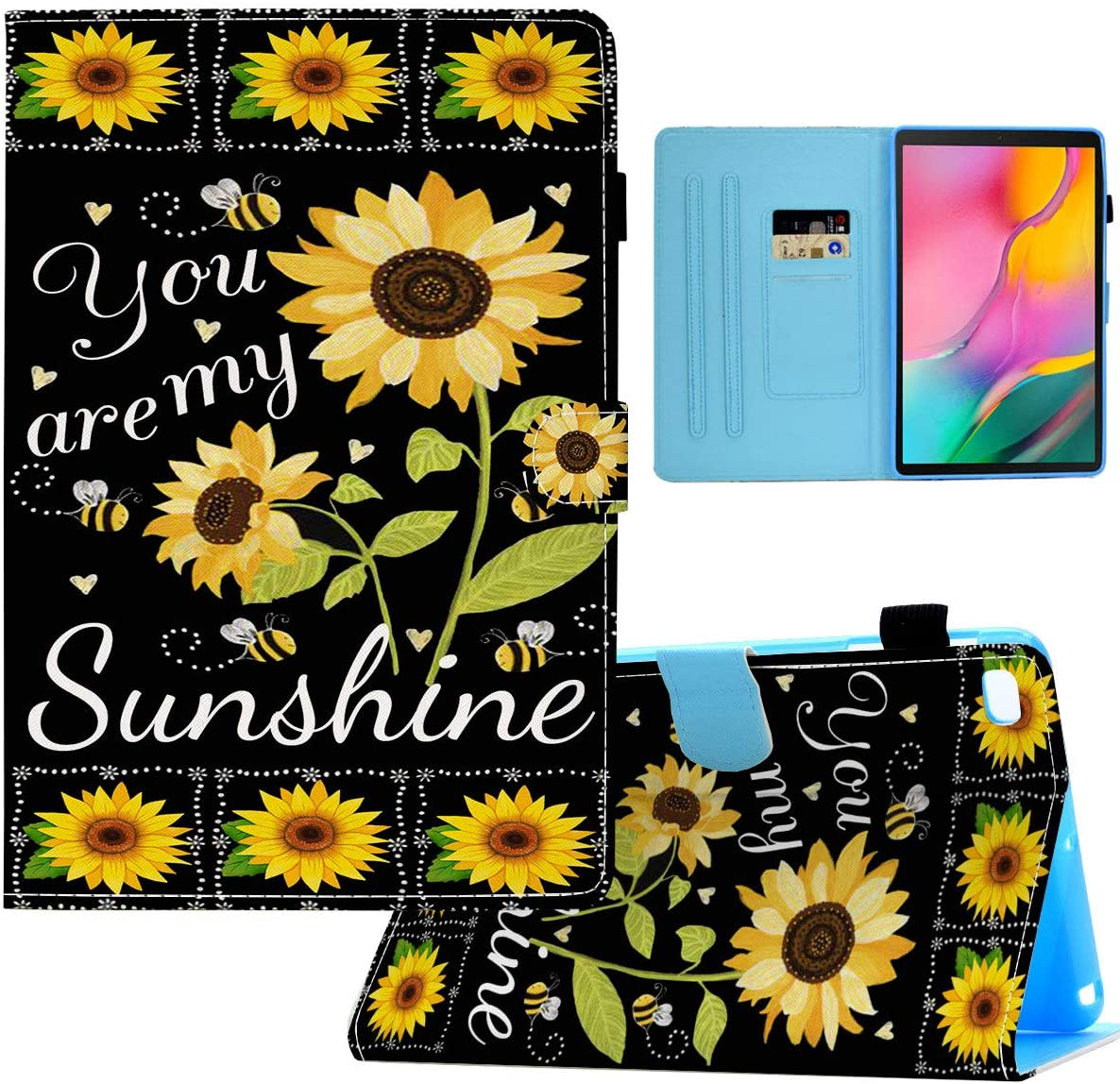 Galaxy Tab A 10.1 Case 2019, SM-T510/T515,BOSLIVE Wallet Case PU Leather Folio Smart Cover Stand with Auto Sleep/Wake Soft TPU Cover for Samsung Galaxy Tab A 10.1 Inch,You are My Sunshine Sunflower