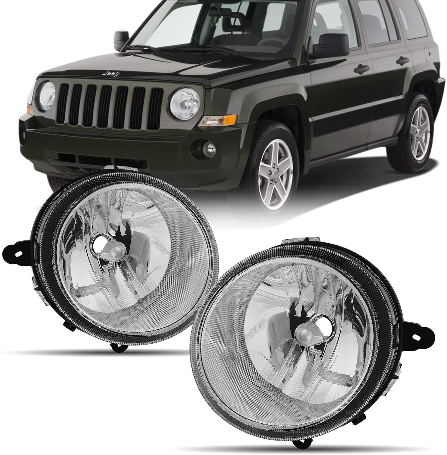 For 2007-2017 Jeep Patriot | 07-10 Compass OE Style Premium Headlights Housing Right & Left - Chrome