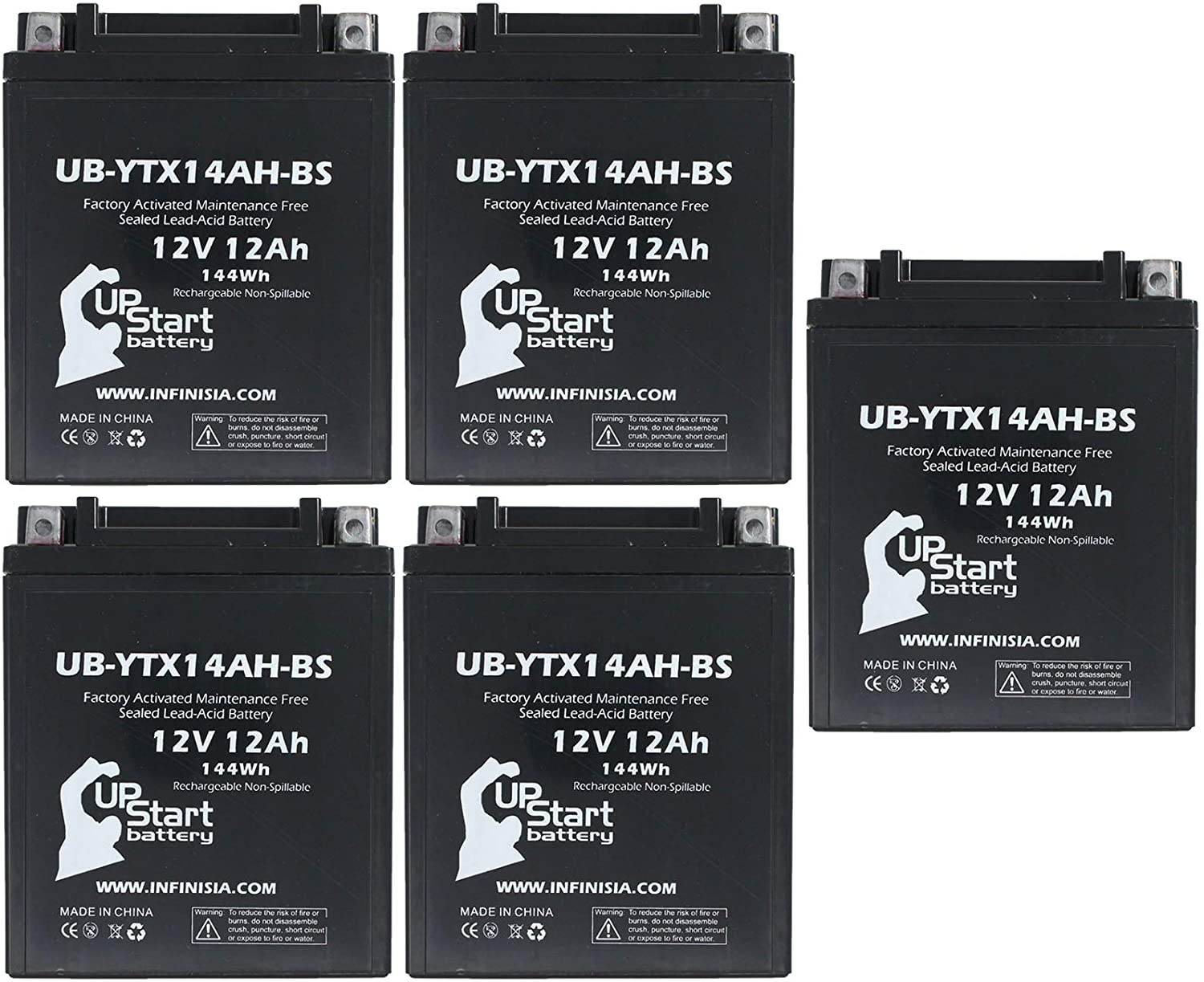 5-Pack UB-YTX14AH-BS Battery Replacement for 1998 Arctic Cat Panther 440 500 CC Snowmobile - Factory Activated, Maintenance Free, Motorcycle Battery - 12V, 12AH, UpStart Battery Brand