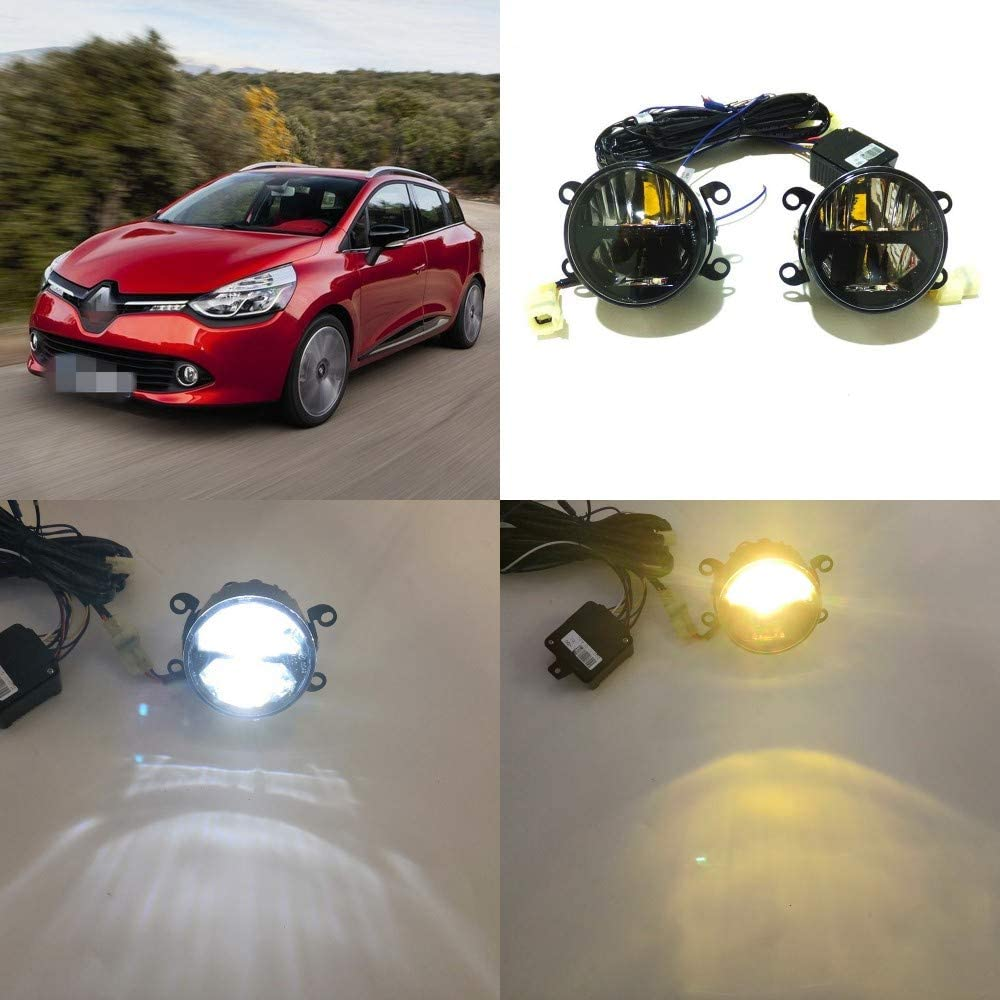 July King 24W LED Bifocal Fog Lamp Assembly for Renault Clio 2012-2015, 6000K LED Day Running Lights DRL + 6000K High Beam + 4300K Yellow Low Beam