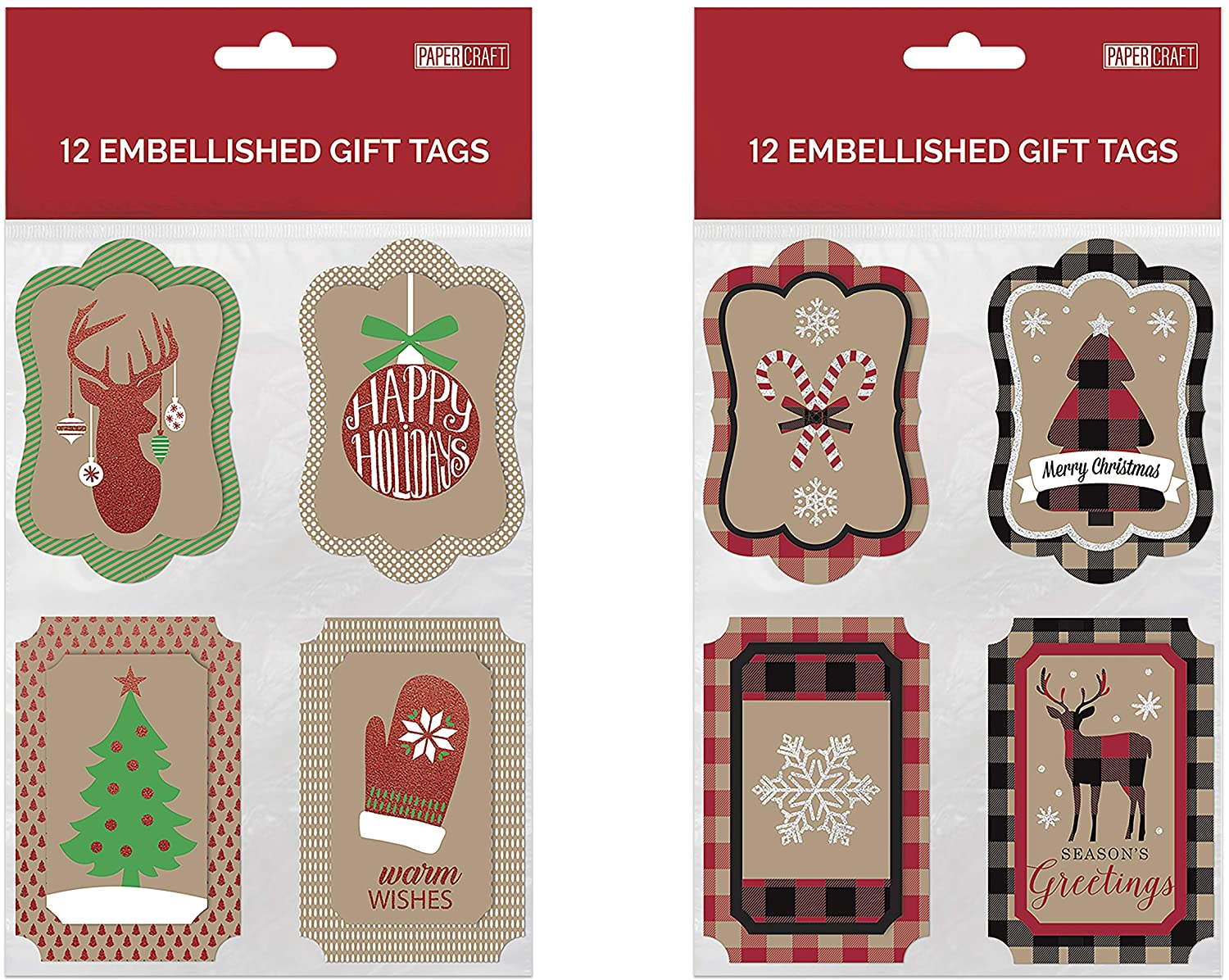 B-THERE Bundle of 24 Die-Cut Kraft Christmas Gifting Tags, Holiday Gift Tags Gifting Supplies