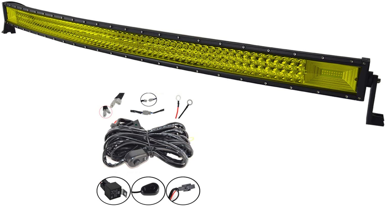 Willpower 42 inch 540W Curved Triple Row Yellow Amber 7D Led Light Bar Flood Spot Driving Lights Off Road Lights with Wiring Harness for Pickup Truck Jeep ATV UTV Wrangler SUV Dodge 4x4,3000K 12 24V