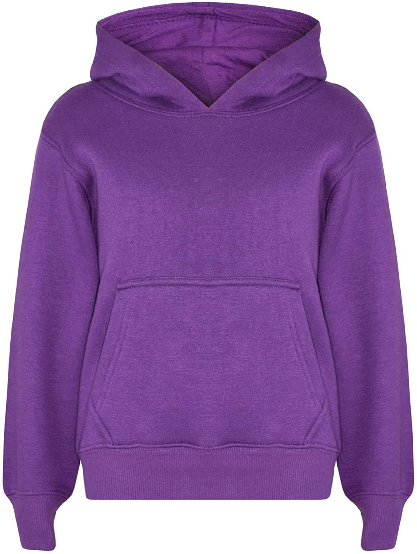 Kids Girls Boys Sweatshirt Tops Plain Hooded Jumpers Hoodies New Age 2-13 Years
