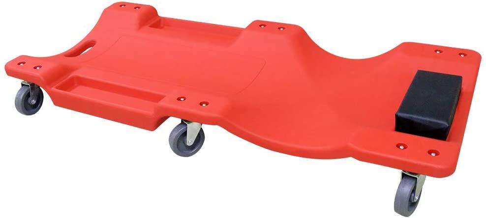AUTOOL Mechanic Plastic 40 Car Creeper Board, Automotive Repair Tool Roller Creepers, Car Workshop Crawler Board Ergonomic Body & Padded Headrest & Dual Tool Trays, Load 200kg, Red