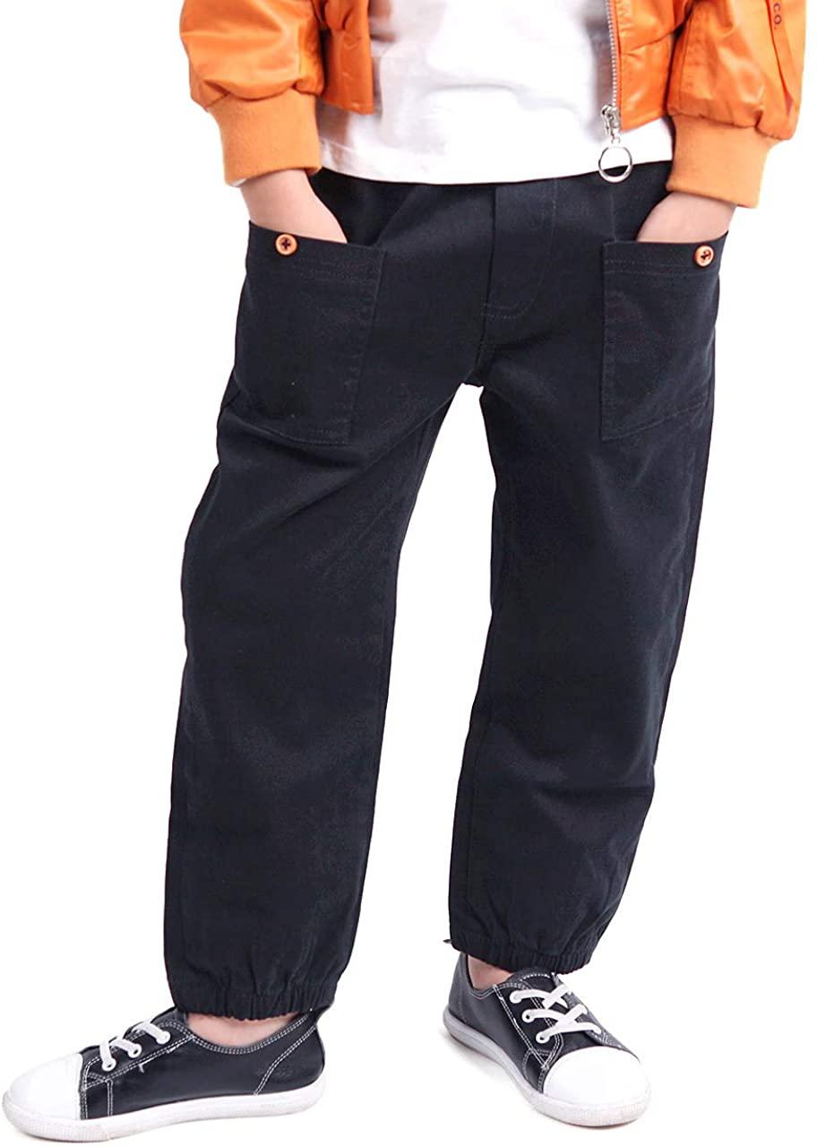 Mini Panda Boys Pants Husky Boys Elastic Waist Pants for Kids 3-12 Years