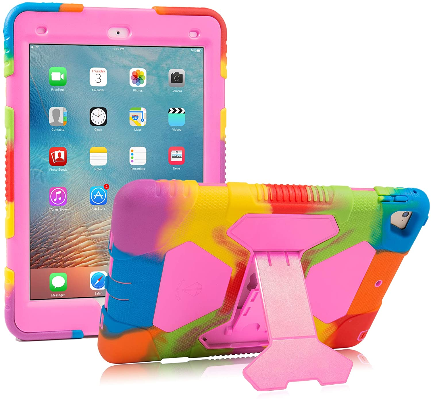 iPad 9.7 2018/2017, iPad Air 2, iPad Pro 9.7 Case for Kids Full Body Protective Shockproof Cover with Adjustable Kickstand for iPad 9.7 5th / 6th Generation (Rainbow/Pink)