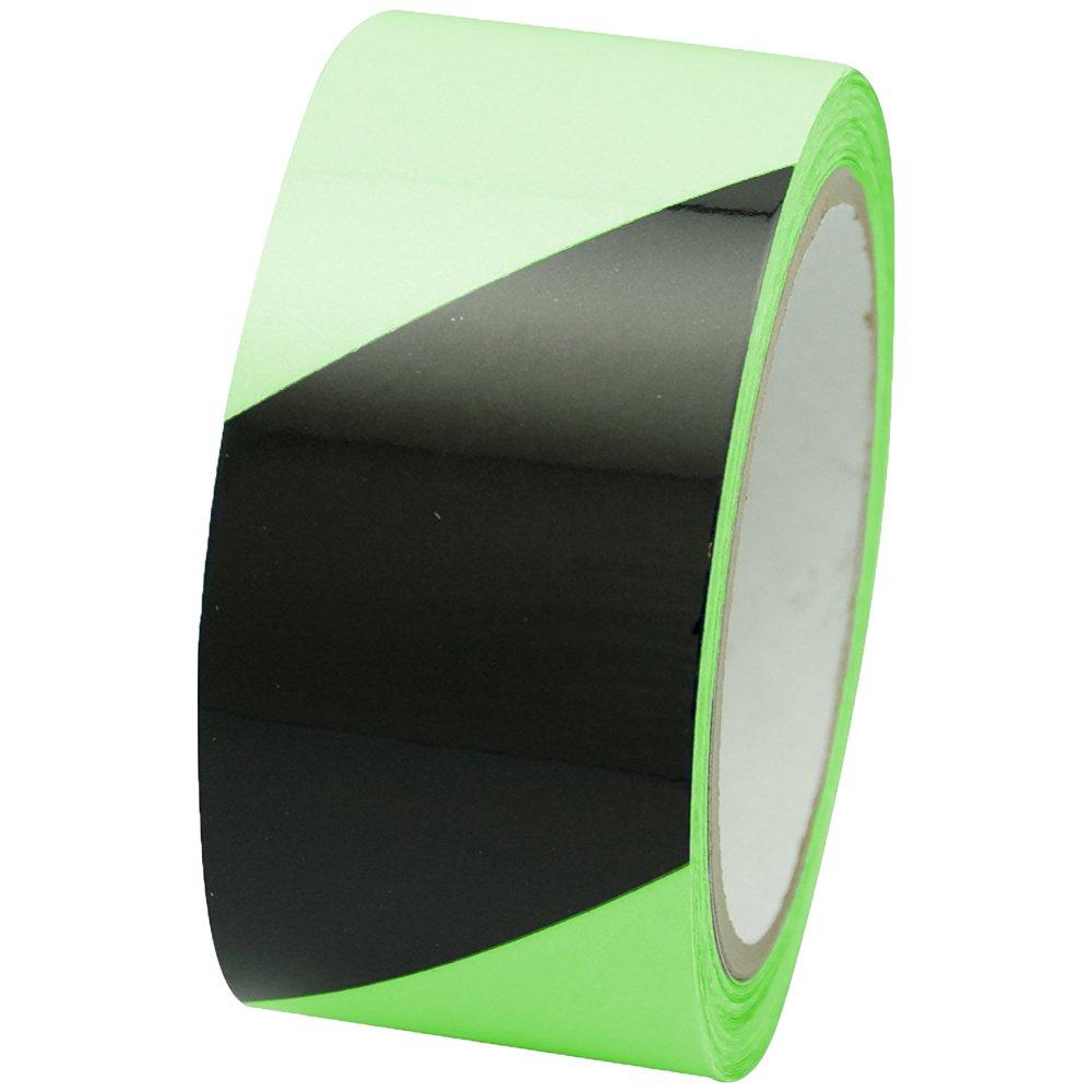 INCOM Manufacturing: GT230BK Glow in the Dark Photoluminescent / Luminous Marking Safety Hazard Emergency Warning Adhesive Tape, 2 inch x 30 ft Stairs, Walls, Exits, Neon Green w/ Black Hazard Stripe