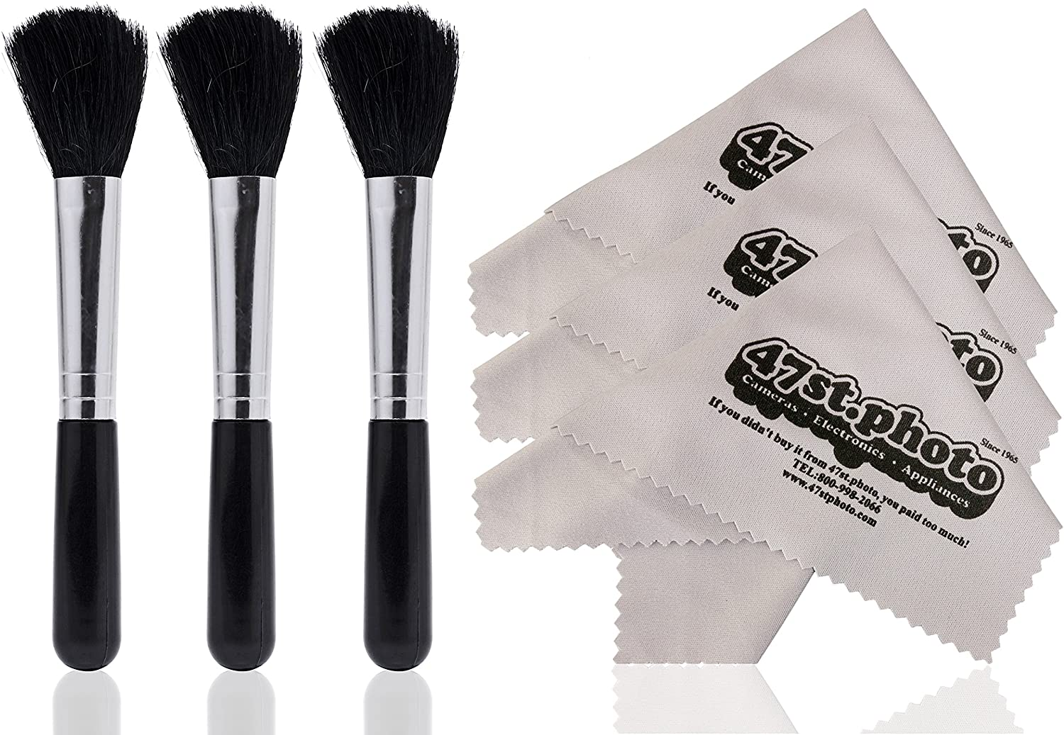 Opteka Camera Lens and Sensitive Electronics Professional Cleaning Brush (3-Pack) with Premium Microfiber Cloth (3-Pack)