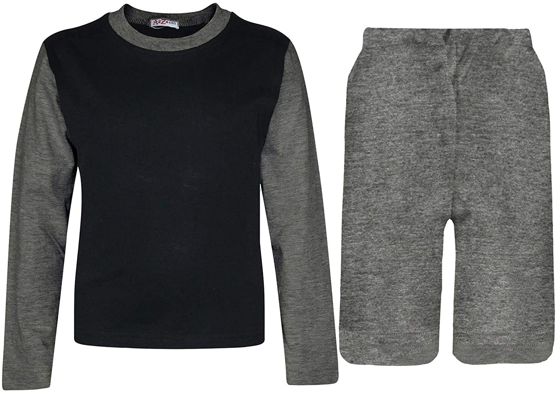Kids Girls Boys Plain T Shirt Top & Shorts Grey Summer Outfit Clothing Sets 5-13