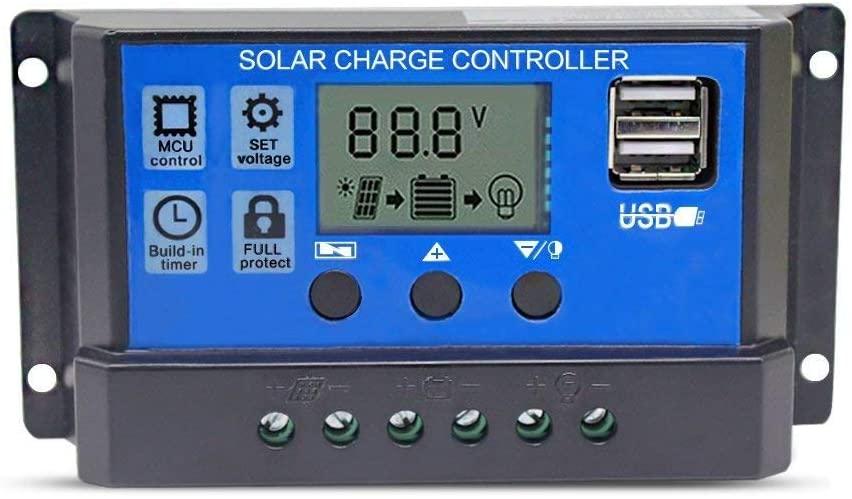 LBHDMZJK Solar Charging Controller Intelligent Voltage Regulator with Dual USB Port Output of 12V / 24V (20)
