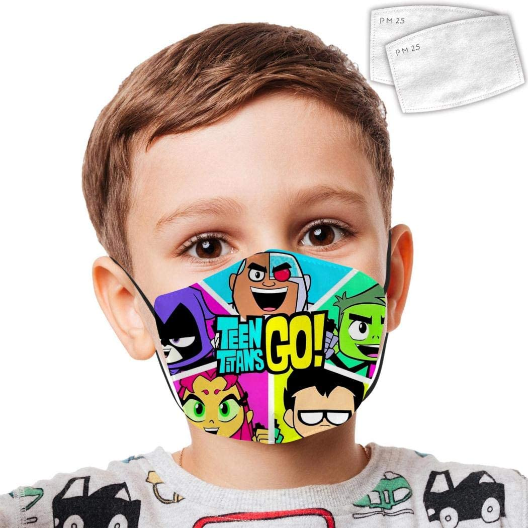 389 Teen Titans Go 12 Kid Dust Face Cover Adjustable Mouth Mask Balaclava Bandanas Washable Reusable with 2 Filter Paper for Teens Boy Girl
