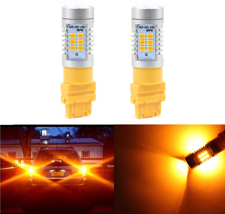 3047 3456 3357 4157 Extremely Bright Amber Yellow Light w/21 SMD LED Bulbs for Turn Signal Blinker Lights, Sidemarker Lights, Corner Lights (Pack of 2)