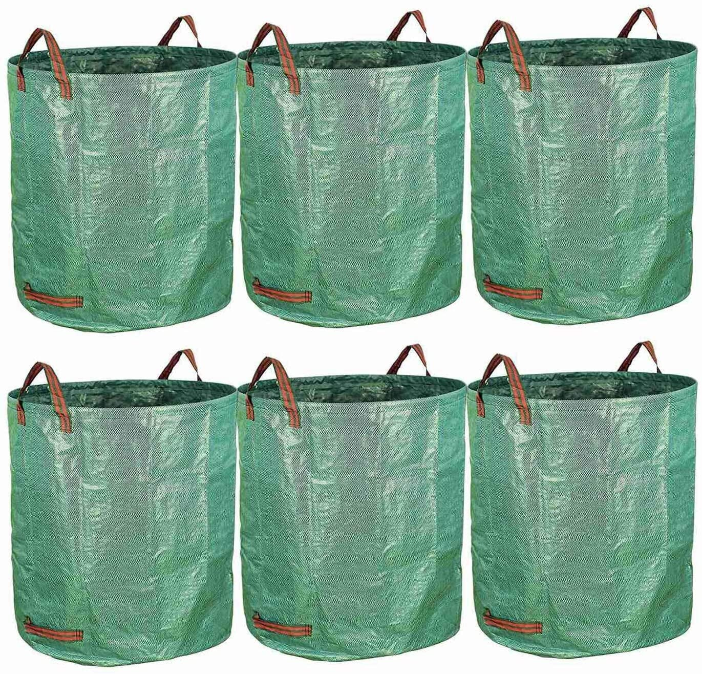 Zxcv 6-Pack 72 Gallon Bags - Reusable Heavy Duty Gardening Bags, Lawn Pool Garden Leaf Waste Bag
