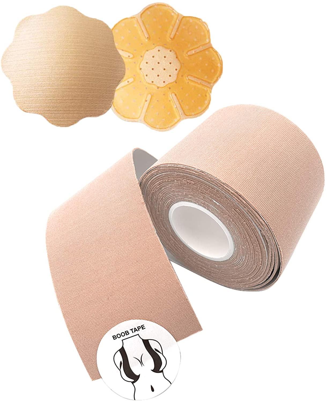 Boob tape upgraded version and 2 Pcs Petal Backless Nipple Cover Set,lift boob job,Push up breast. Body tape,breast tape,bra tape,foot tape, Breast Petals Reusable Adhesive Bra,Chest Paste Breast Lif