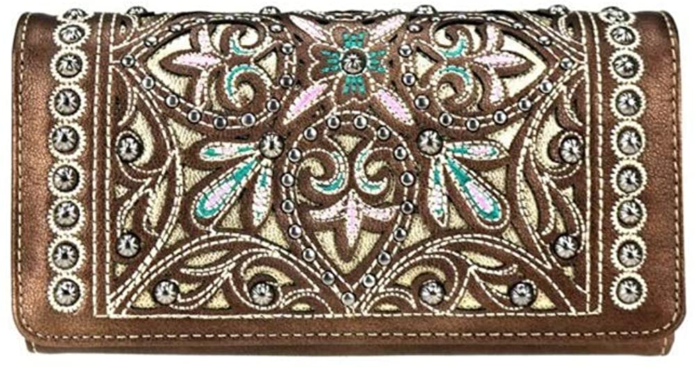 Montana West Jp Embroidery Flower Floral Trifold Wristlet Secretary Style Wallet
