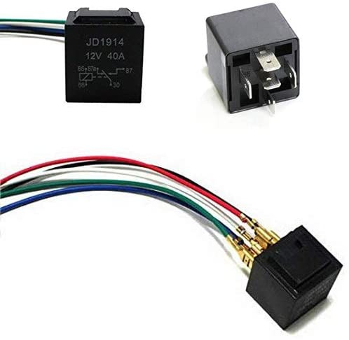 iJDMTOY 5-Pin 12V 40A SPDT Relay Socket Wire Compatible With Car Fog Light Daytime Running Lamps etc