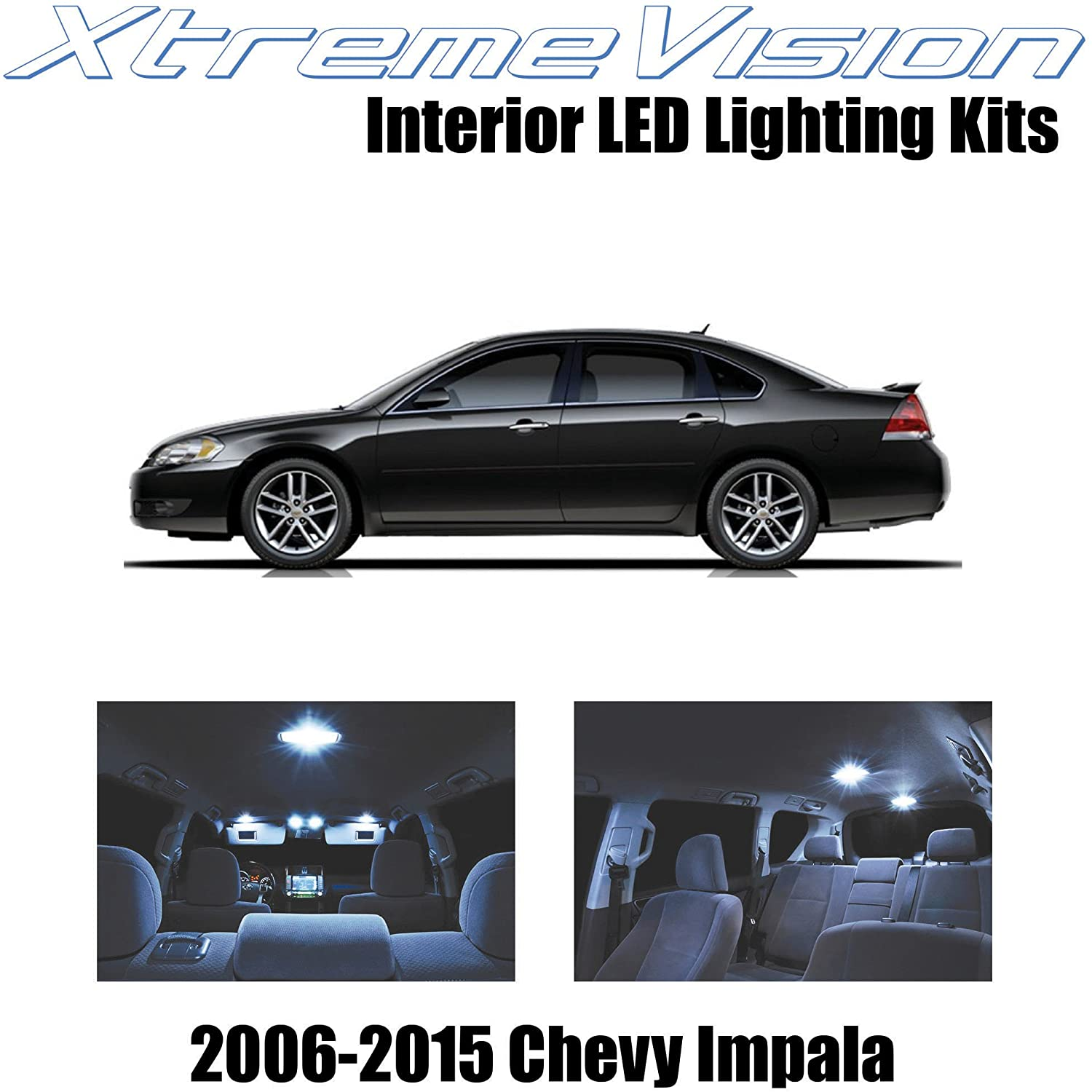 XtremeVision Interior LED for Chevy Impala 2006-2015 (16 Pieces) Cool White Interior LED Kit + Installation Tool Tool