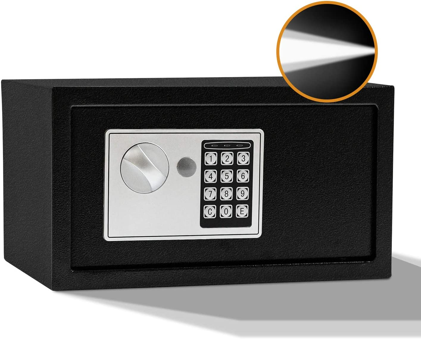 SamYerSafe Safe Box with Sensor Light,0.42 Cubic Feet Security Safe with Electronic Digital Keypad Money Safe Steel Construction Hidden with Lock,Wall or Cabinet Anchoring Design for Office Home Hotel