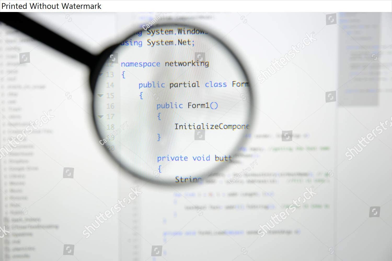 KwikMedia Poster of Real c# Code Developing Screen. Programing workflow Abstract Algorithm Concept. Lines of c# Code Visible Under Magnifying Lens.