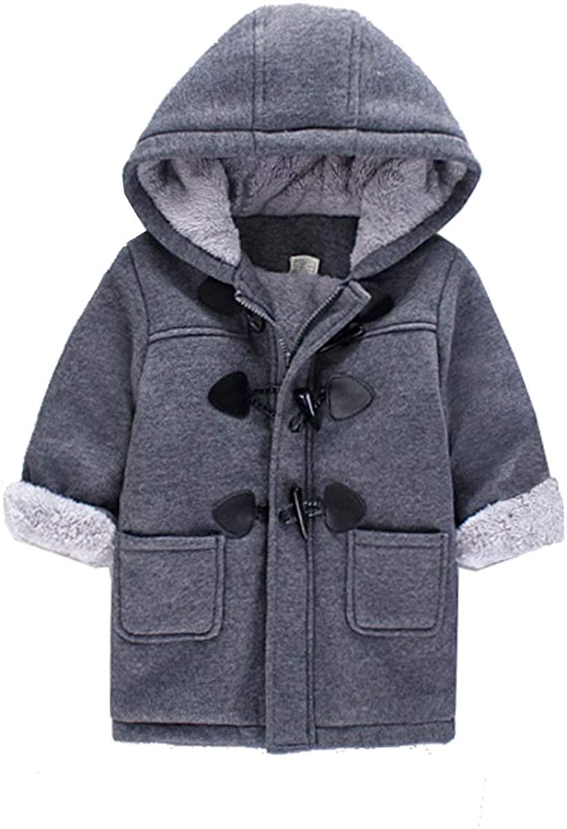 Qinni-shop Baby Little Boys Girls Brown Gray Hooded Duffle Wool Coat Winter Warm Jacket