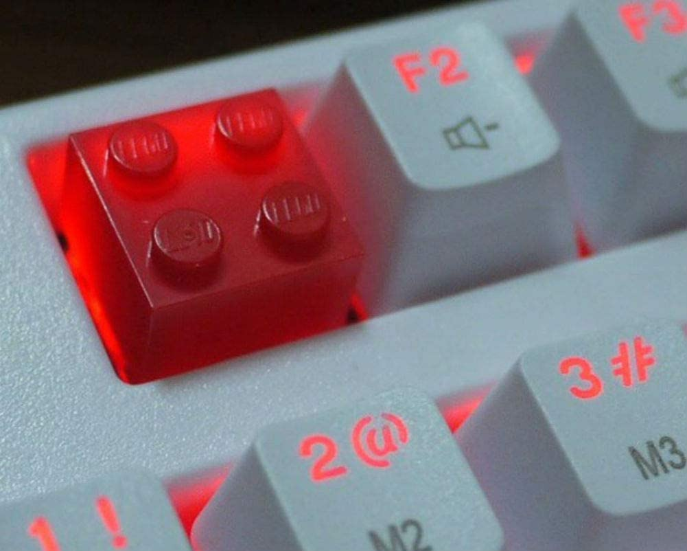 Mugen Custom Red Legos Block Retro Resin Keycaps for Cherry MX Switches - Fits Most Mechanical Gaming Keyboards - with Keycap Puller