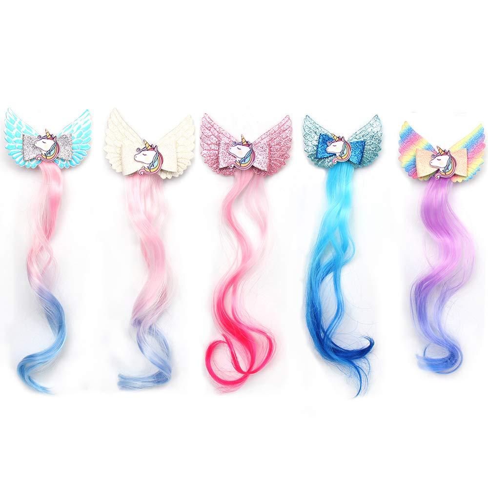 SJ 5pcs Blinking Princess Unicorn Hair Clips In 14 inch Hair Extensions Ponytails White Rainbow Pink Hair Bows Pins Festival Halloween Hair Weave