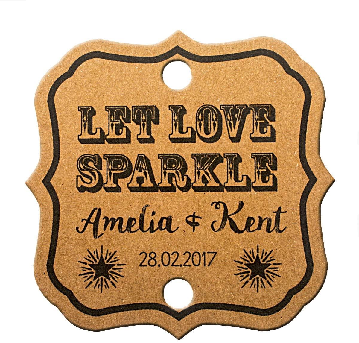 Summer-Ray 48 Personalized Kraft Vintage Square Wedding Sparkler Tags Let Love Sparkle