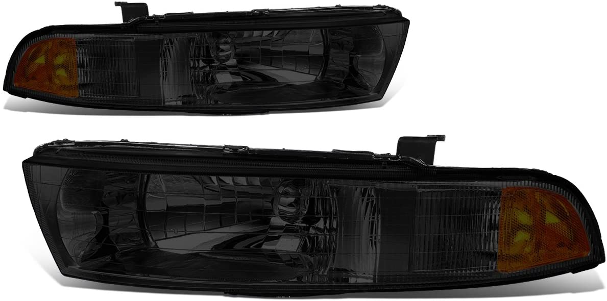 Pair of Smoked Housing Amber Corner Headlight Assembly Lamps Replacement for Mitsubishi Galant 8th Gen 99-03