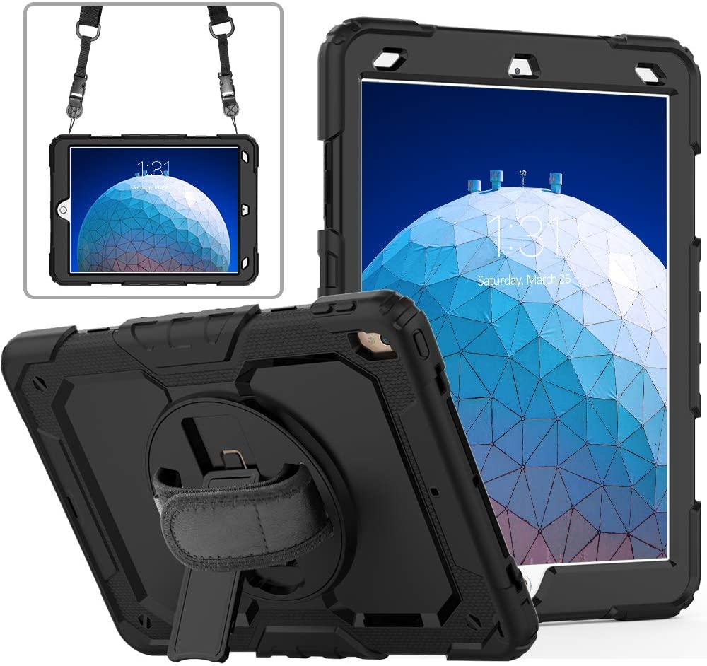 iPad Air 3 Case with Pencil Holder Screen Protector | Herize iPad Pro 10.5 Case 2017 | Heavy Duty Shockproof Durable Rubber Protective Case for iPad Air 3rd Generation | Black