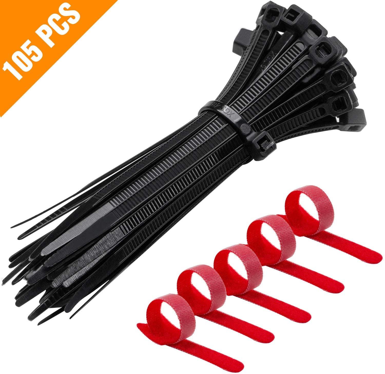 ZHSXHMLXM 100PCS Nylon Cable Ties, Zip Ties,5PCS Adjustable Ones,Suitable for Indoor and Outdoor use