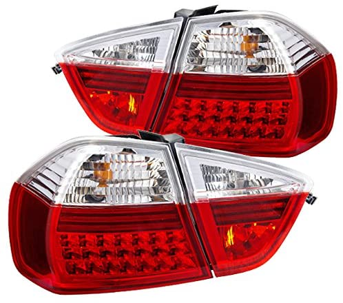 AJP Distributors For BMW 3 Series E90 4 Door Sedan LED Tail Light Pair Left Right (Red Clear)