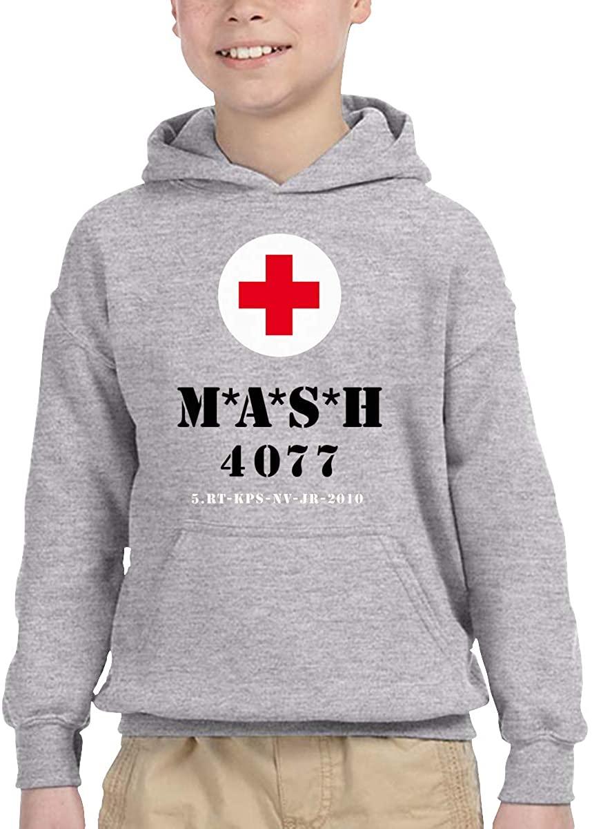 Anshun Mash 4077th Logo Children's Casual Hooded Pocket Sweater