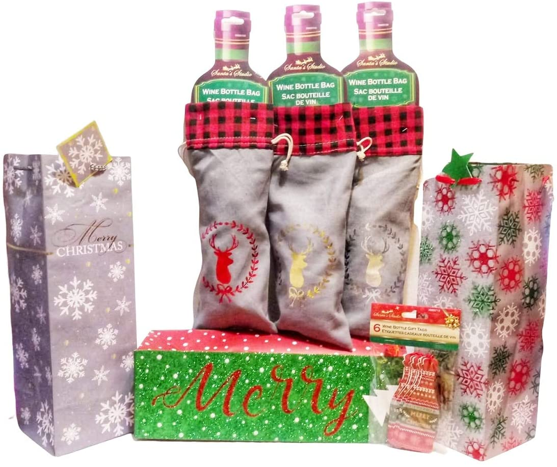 Christmas Reindeer Drawstring and Holiday Sparkle Wine Bottle Bags with Handles and Decorative Bottle Gift Tags - 7 Piece Set