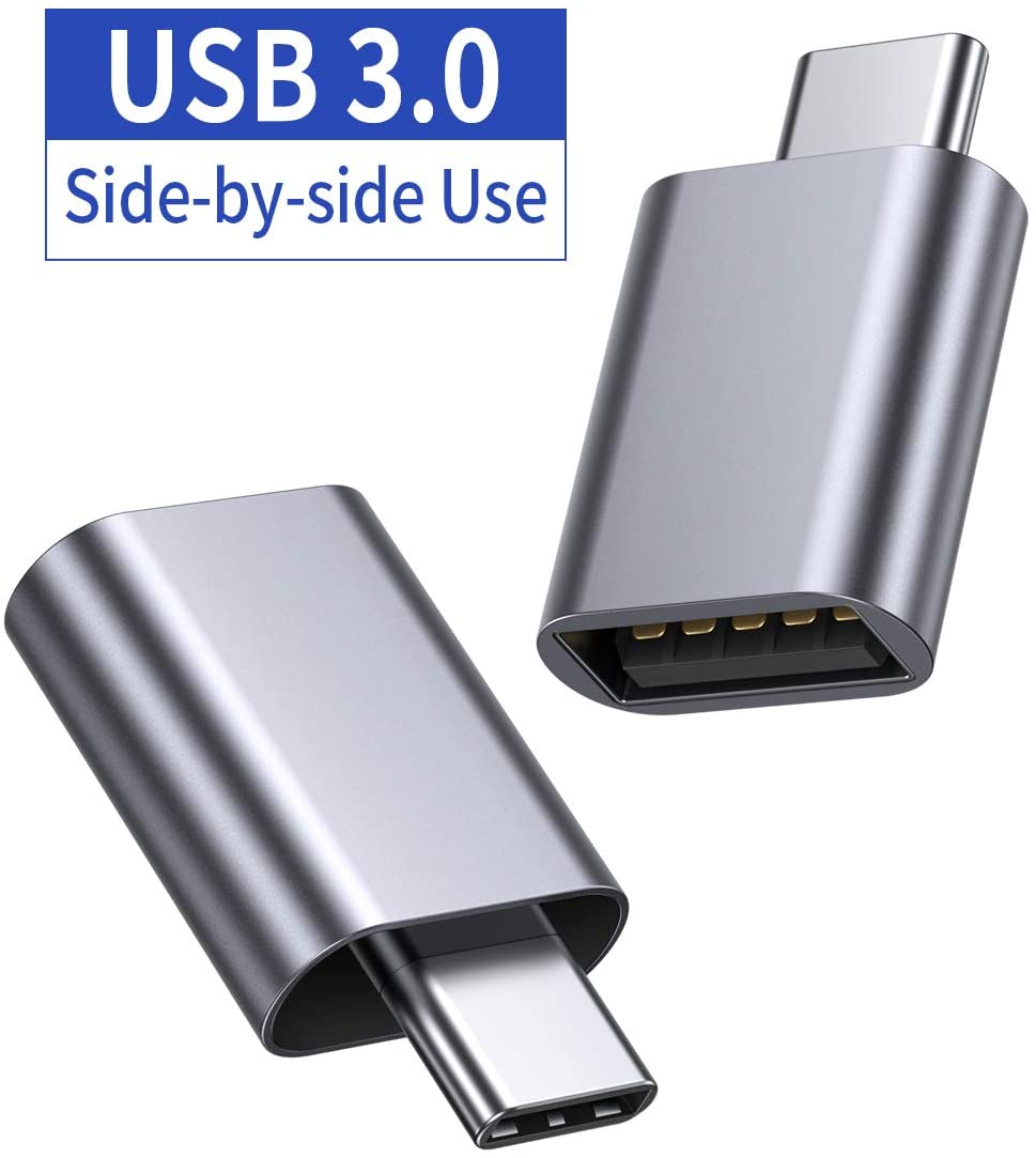 JSAUX USB Type C Male to USB A 3.0 Female Adapter 2-Pack, [Side-by-Side Use] Thunderbolt 3 Adapter Compatible with MacBook Pro 2018 2017 Air, Dell XPS 13 7390, Galaxy S20 S20+ S10 Plus Ultra(Grey)