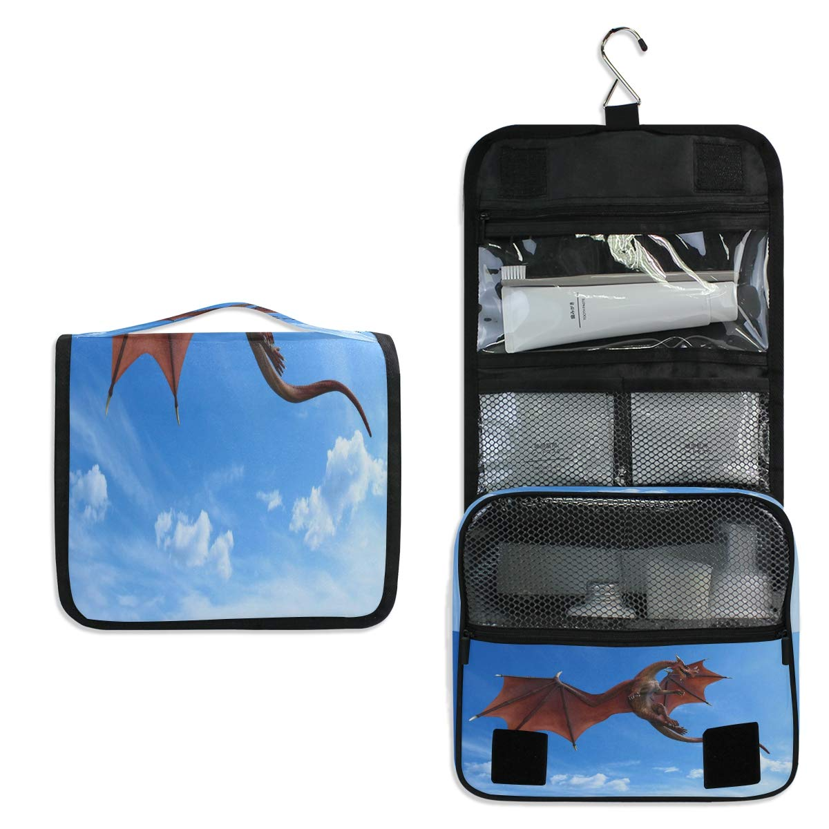 Hanging Toiletry Bag, Blue Sky Red Dragon War Waterproof Quilted Wash Gargle Bag Portable Travel Bathroom Shower Bags Deluxe Large Makeup Brush Case Capacity Pouch for Men and Woman