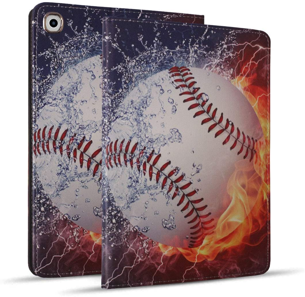 New iPad 10.2 inch (2019), iPad 7th Generation Case 10.2 inch, Protective Leather Case, Adjustable Stand Auto Wake/Sleep Smart Case for iPad 10.2 inch (2019) - Burning Baseball Fire and Water