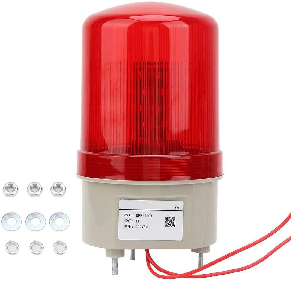 AC 220V Warning Light Rotating LED Warning Light Flashing Signal Light Industrial Strobe Lights Tower Lamp 97mm Diameter, Red