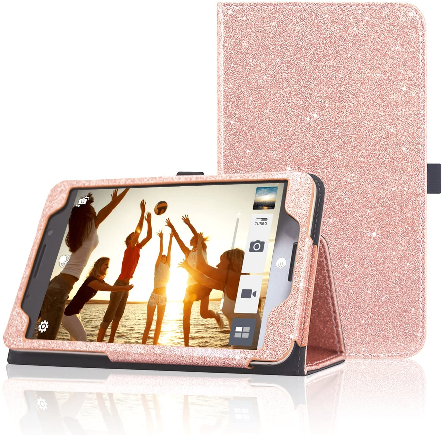 ACdream ASUS MeMO Pad 7 LTE Case, Premium PU Leather Smart Cover Case for AT&T ASUS MeMo Pad 7 LTE GoPhone Prepaid Tablet ME375CL, Rose Gold Star of Paris