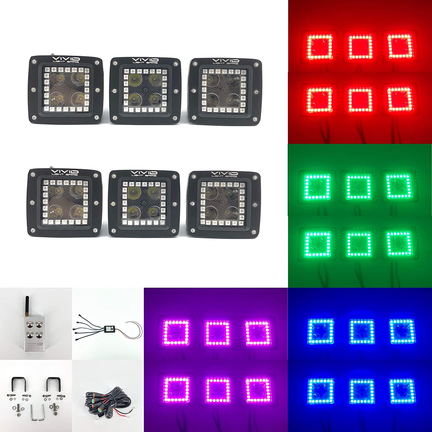 Vivid Light Bars 3.2'' 20W Single Color Alternative Flash Strobe LED Pods with Bluetooth APP Control RGB Halo for Offroad Truck SUV ATV UTV (RGB Halo 6 PACK, White)