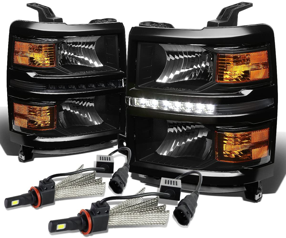 Replacement for Chevy Silverado Pair of GMT K2XX Black Housing LED Headlight W/Amber Signal + H8 LED Conversion Kit