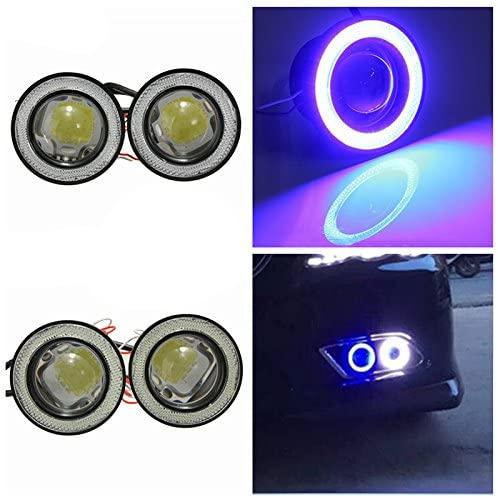 DishyKooker Car Fog Lights LED DRL Driving Lights 2Pcs/lot Universal Waterproof 1200Lm Angel Eyes COB 12V 30W Auto Fog Lamp White Motorcycle Car