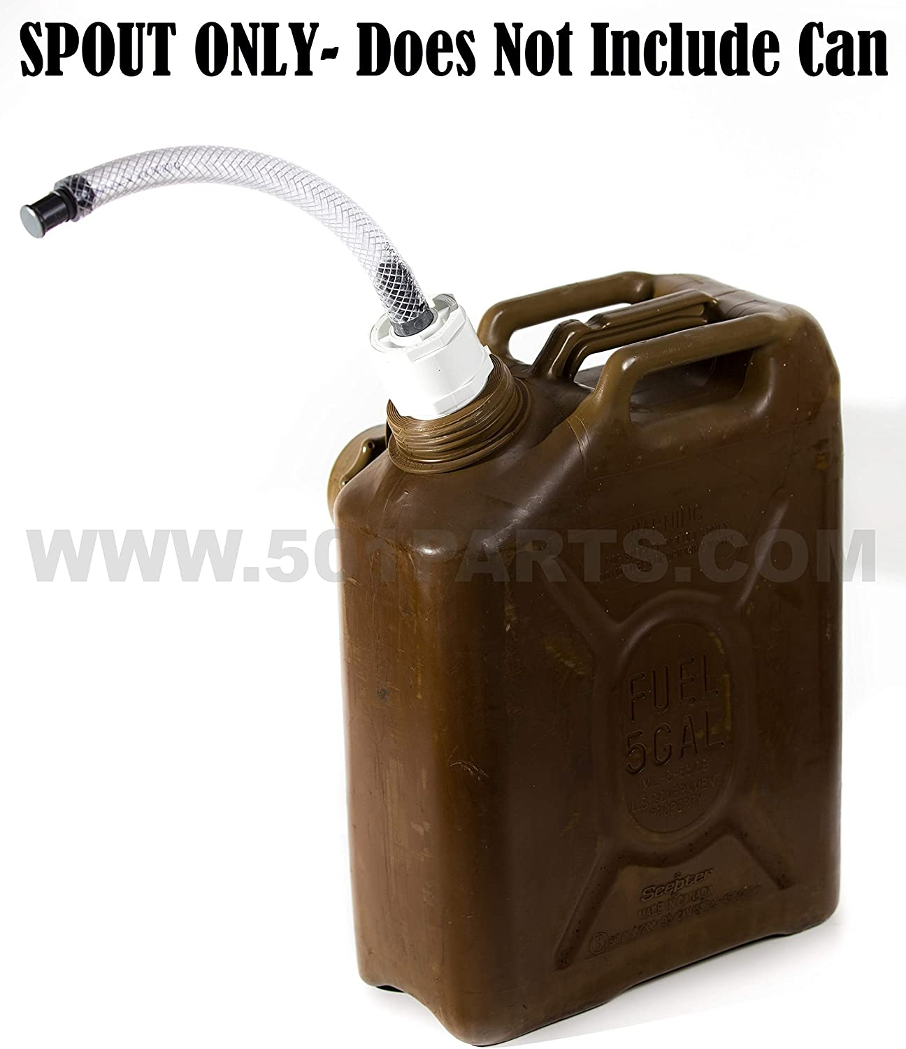 Scepter Military Fuel and Jerry Can Spout - 3/4 Inch Diameter Hose with Filter- Fuels Gasoline Cars, Trucks, Equipment