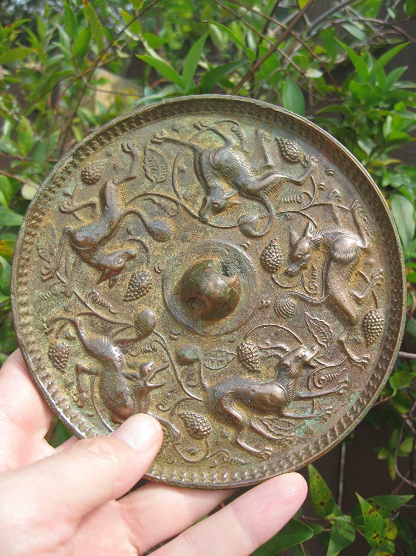 Masterpiece antique Chinese bronze mirror 5 suani, 5.5