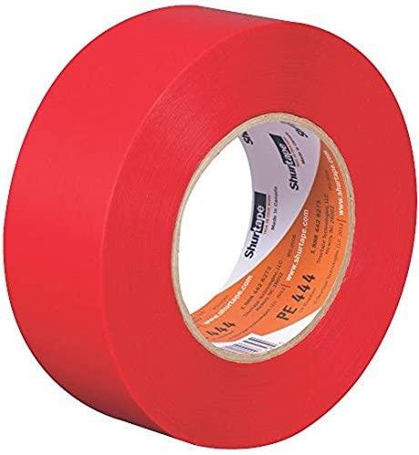 Shurtape PE 444 UV-Resistant Stucco Masking Tape, 48mm x 55m, Red, 1 Roll (107239)