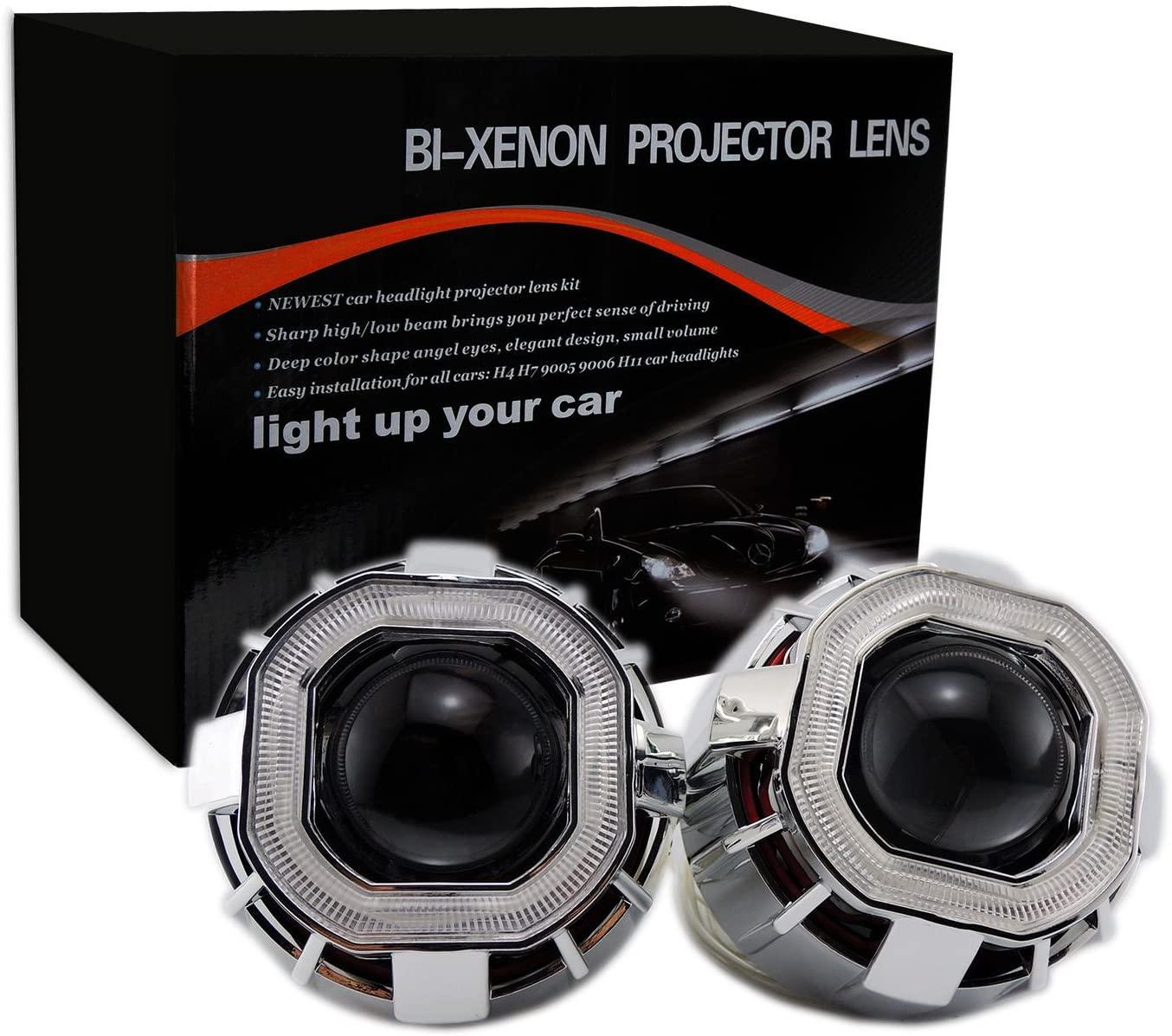 2.8 inch HID Square Projector Xenon Lens Car Auto Headlights Dual COB Angel Eyes (Inside(Big) Ring, Blue)