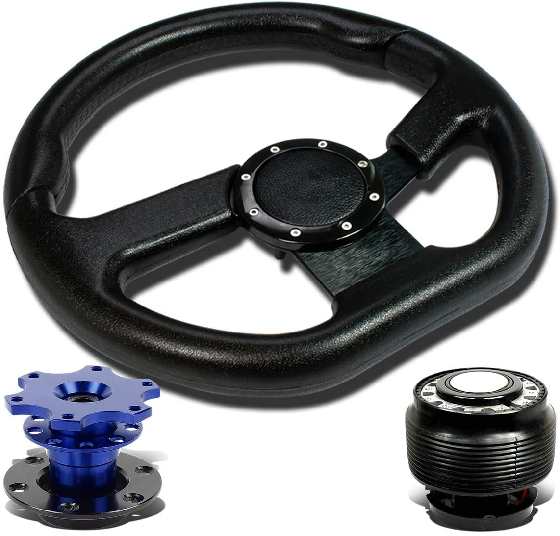 Replacement for Civic/CRX/Integra 320mm SW-T150 Steering Wheel+Hub Adapter+Blue 2 inches Quick Release